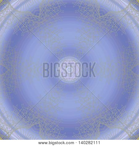 Abstract geometric seamless background. Futuristic round ornament in purple shades with light gray outlines, delicate and dreamy.
