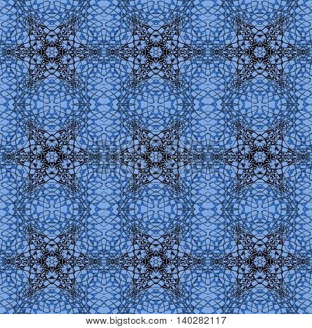 Abstract geometric seamless background. Ornate stars and diamond pattern with black and blue gray elements on light blue, delicate and extensive.