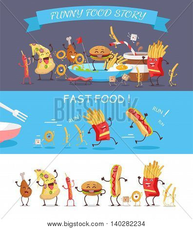 Fast food vector concepts. Flat design. Illustration of french fries, egg, bacon, cheese stick, hot dog, hamburger, chicken, sugar in funny cartoon style story. Image for signboard, icon, infographic