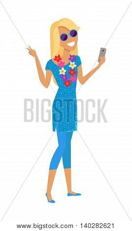 Young woman with a necklace of tropical flowers makes a selfie vector illustration. Tourist take picture on vacation in tropical country. Flat style design concept. Isolated on white.