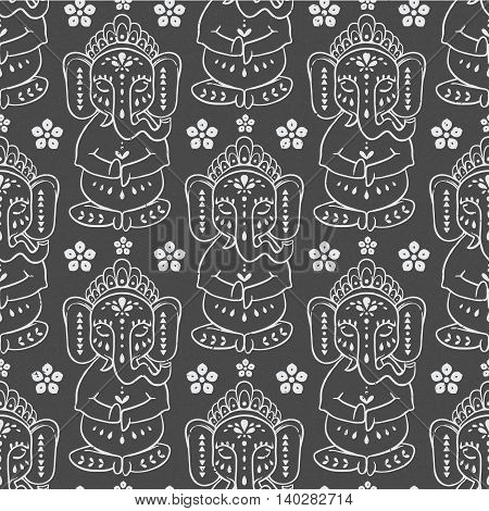 Pattern  with elephant Ganesha Hindu god. Illustration for prints dress, coloring book Animal made in vector. Happy Birthday Chaturthi