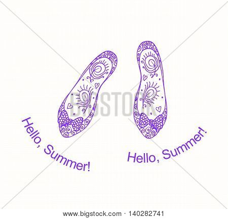 Hello summer! Beautiful card with hand drawn doodle shoes on white background. Vector illustration.