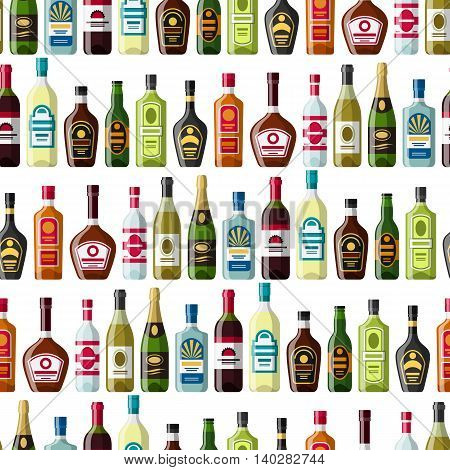 Alcohol drinks seamless pattern. Bottles for restaurants and bars.