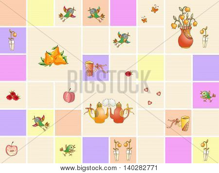 Collection of colorful ceramic kitchen tiles with teapots, flowers, birds, hearts, fruits and berries. Vector illustration.