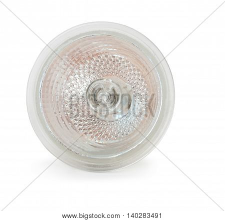 Halogen lamp isolated on white background, close-up.