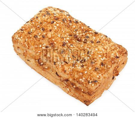 Spicy Bun Sprinkled With Sesame Seeds, Isolated On White. Close-up, A Top Plan View.
