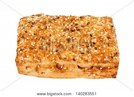 Spicy Bun Sprinkled With Sesame Seeds, Isolated On White.
