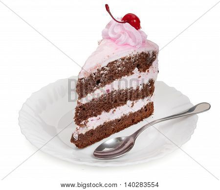 A Delicious Piece Of Chocolate Cake With Cherry Cream And Canned Cherries On A White Plate With A Te