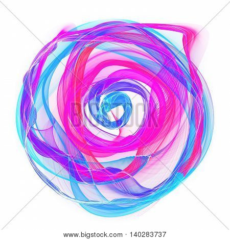 The magical form of purple smoke abstract white background