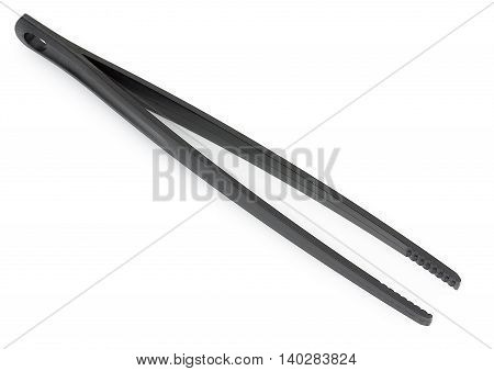Black Plastic Cooking Tongs Isolated On White Background