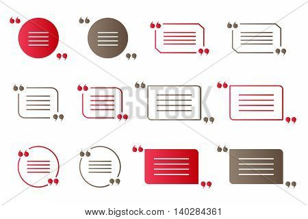 Set of red and brown gradient quotation marks isolated citation vector symbols on white