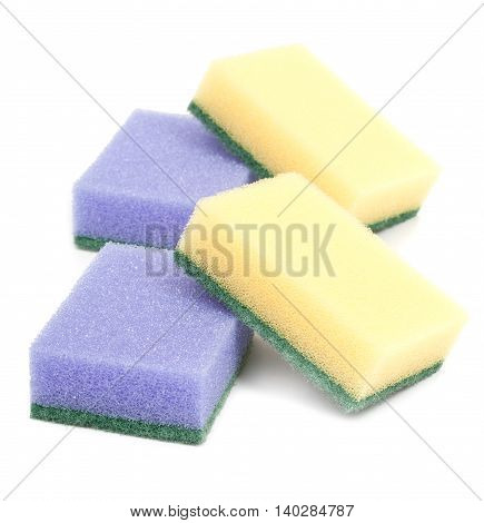 Sponges For Washing And Cleaning Of Kitchen Ware, Isolated On A White Background.