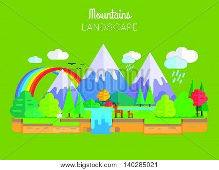 Mountains landscape vector. Flat style. Illustration of nature with snow-capped peaks, animals, trees, waterfall, rainbow, clouds. Banner for environmental, ecological concepts and web page design.