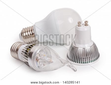 Set Of 3 Energy Saving Led Light-emitting Diode Bulbs, With Sockets Type E27 And Gu10  Isolated On A