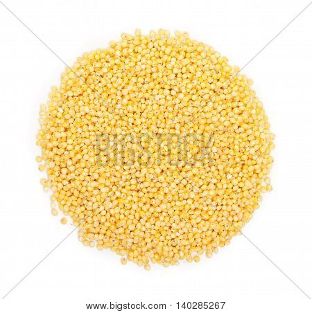 Heap Of Millet Groats Isolated On White. Top View.