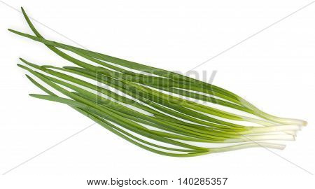 Ripe Green Spring Onions Isolated On A White Background.