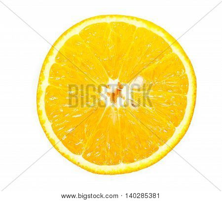 Half Of Orange Isolated On A White Top View
