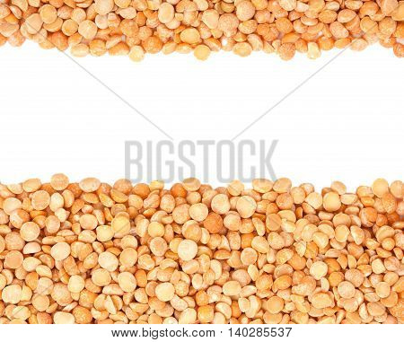 Background With Dried Yellow Peas Close-up, Top View With Epmty Space For Your Text.