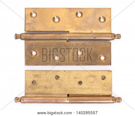 Pair Of Old Hinges Isolated On A White