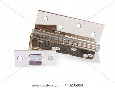 Chrome Hinge And  Door Latch Isolated On White
