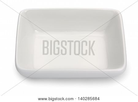 Empty porcelain square plate isolated on a white background