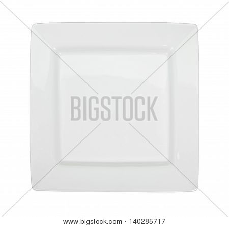 White Square Plate Isolated On White. Top View.