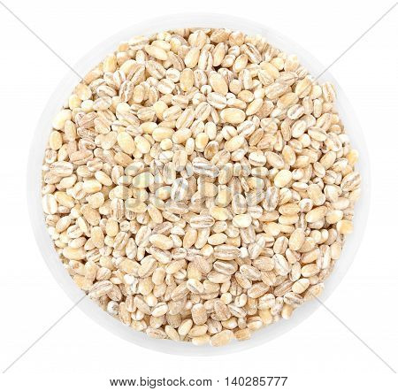 Heap Of Millet, Bulrush Groats In Round Plate Isolated On White. Top View.