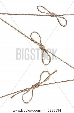 Ropes With Knot, With Knot And Bowknot, Isolated On White.