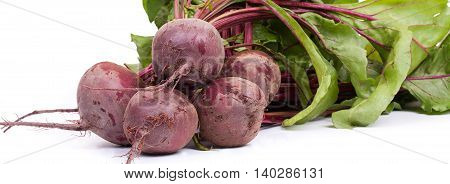 Fresh Beetroot With Leaves, Isolated On White Horizontal Background. Close-up.