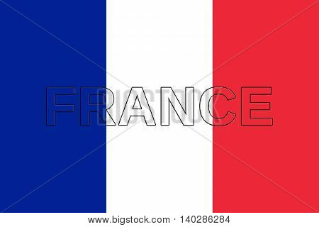 Illustration of the national flag of France with the word France on the flag