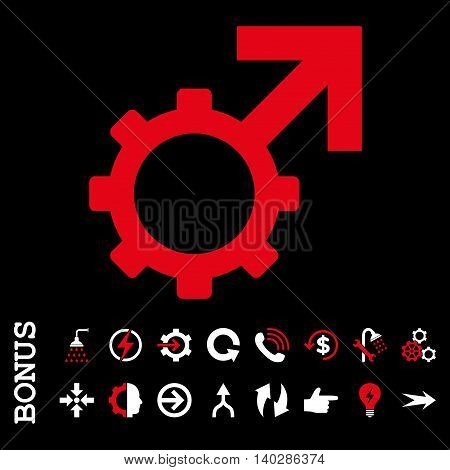 Technological Potence glyph bicolor icon. Image style is a flat pictogram symbol, red and white colors, black background.