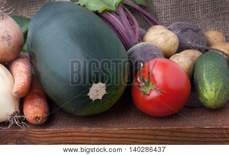 Heap Of Fresh Ripe Colorful Vegetables: Zucchini, Beets, Onions, Cucumbers, Red Ripe Tomatoes, Carro