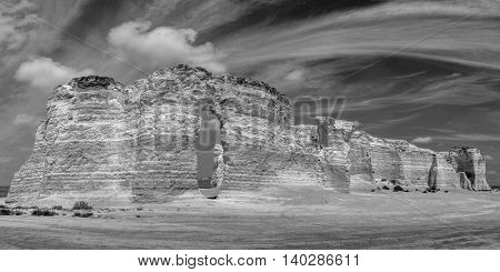 black and white panorama of chalk formations at Monument Rocks National Natural Landmark in Gove County, western Kansas