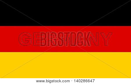 Illustration of the national flag of Germany with the word Germany on the flag