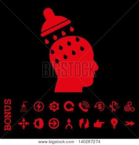 Brain Washing glyph icon. Image style is a flat iconic symbol, red color, black background.