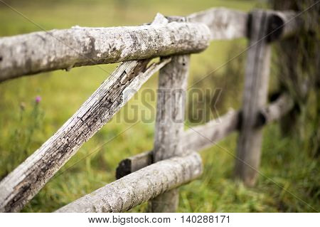 Rustic wooden fence details in the countryside