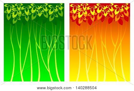 Summer and Autumn background with vegetative elements