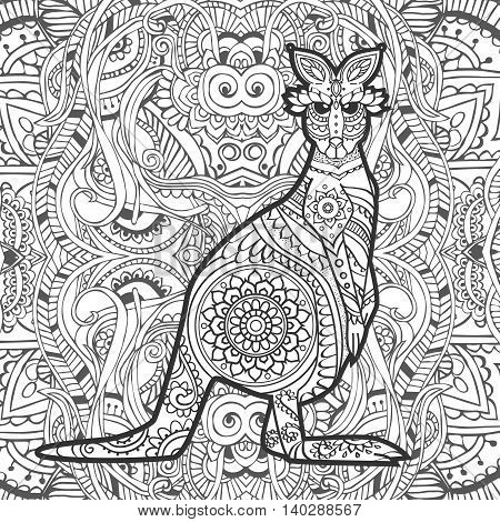 Ornament kangaroo vector. Beautiful illustration kangaroo for design, print clothing, stickers, tattoos, Adult Coloring book. Hand drawn animal illustration. Bohemian kangaroo lace
