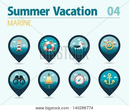 Marine pin map icon vector set. Travel Map pointer. Map markers eps 10