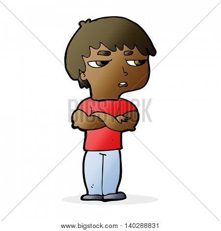 cartoon annoyed boy