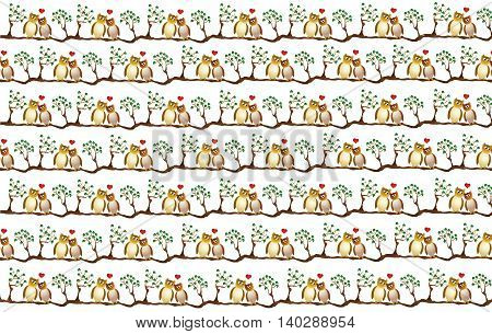 two amorous owl on a branch wrapping paper design with repeating