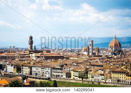 Beautiful View of the Cathedral Santa Maria del Fiore in Florence, Italy