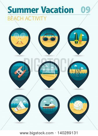 Beach activity vector pin map icon set. Summer time Map pointer. Map markers. Vacation eps 10