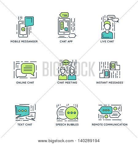 Chat decorative linear icons with speech bubbles meeting mobile messenger online and remote communication isolated vector illustration