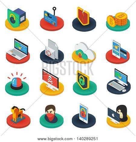 Protection of digital information isometric icons on round bases with  shields antivirus padlocks gadgets isolated vector illustration