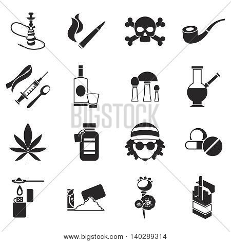 Black isolated drugs icon set different types of narcotics light and hard vector illustration
