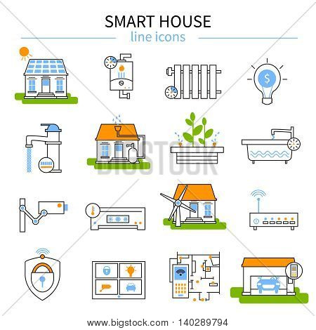 Smart house line icon set in linear style with isolated and colored elements of Technology at home vector illustration