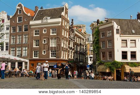 Amsterdam the Netherlands-July 23 2016 : The traditional Dutch houses at Singel centrum in Amsterdam the Netherlands.