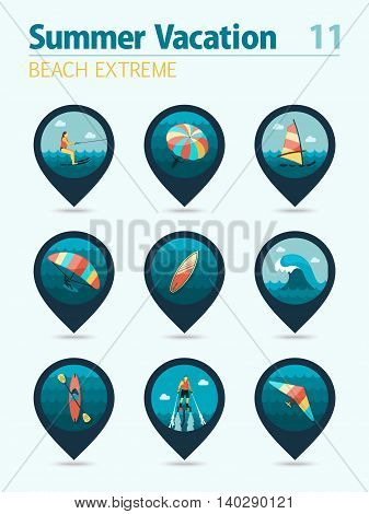 Extreme Water Sport beach vector pin map icon set. Summer time Map pointer. Map markers. Vacation eps 10