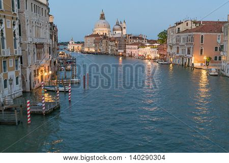 VENICE, ITALY - JULY 1: Dusk along the Grand Canal in Venice Italy